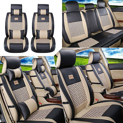 US Car Seat Cover PU Leather Mess Cushion 5-Seats Front+Rear W/