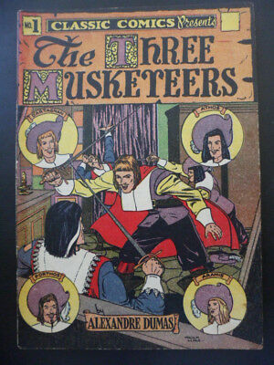 Golden Age, Classic Comics, # 1 The Three Musketeers, 1946, 6th Ed. Very Fine !!
