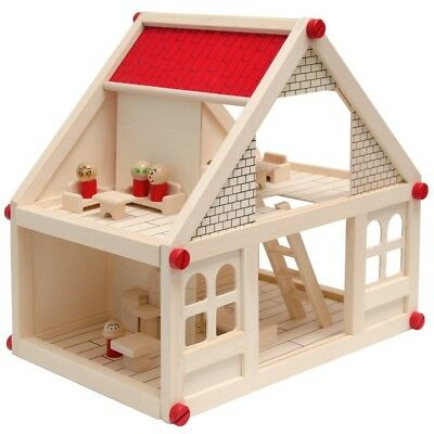 Two-storey Wooden Dollhouse | Incl Furniture + 4 Characters | Miniature house