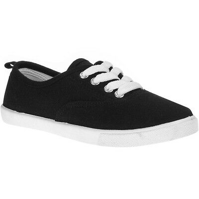 Back To School Shoes Girls Canvas Black Size 4 Casual Kids Lace Up Baby Sale New