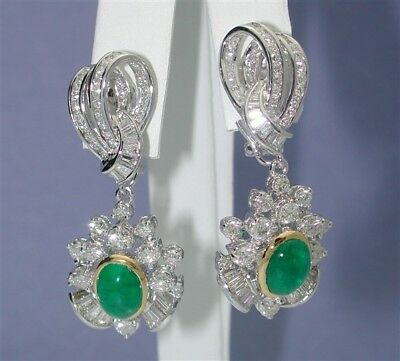 $35,000~Sensational 18K Cabochon Emerald & Diamond F/vvs1 Cascading Earrings-$99