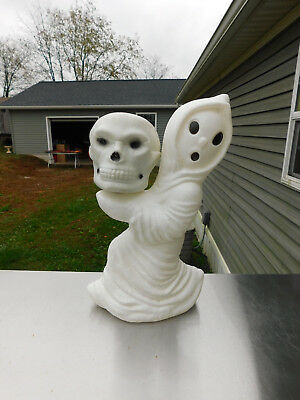 Vintage Rare Halloween Lighted Blowmold Ghost with Skull