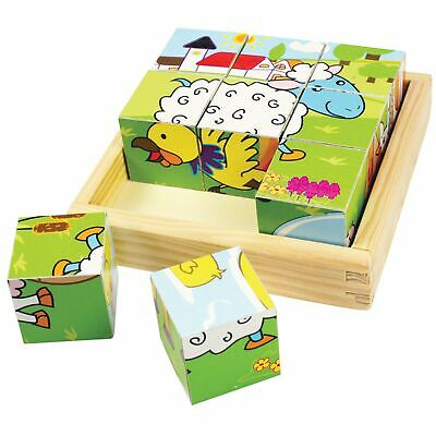 Bigjigs Toys Cube Play Puzzle - For Children / Kids Aged 10 Months + - Animal