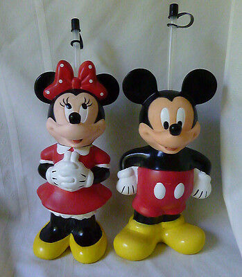 DISNEY Mickey & Minnie Mouse Sipper Bottles With Straws