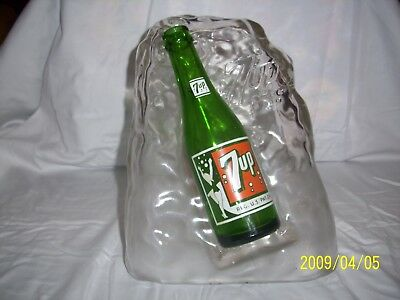 Vintage 7up glass ice block sculpture with Bubble Girl Bottle glossy colors