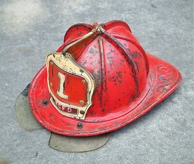 LEATHER West Chicago, IL FIRE HELMET Cairns & Bro. with Bourkes,  firefighter