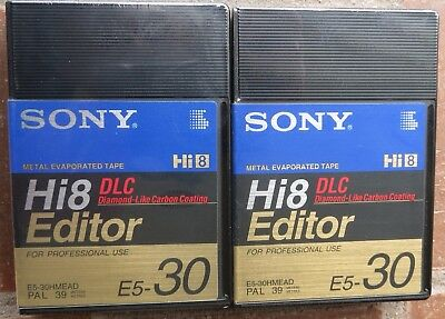 2x SONY Hi8 HME30 CAMCORDER CASSETTE/TAPES