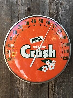"""Vintage 12"""" Drink Orange Crush Curved Bubble Glass Advertising Thermometer"""