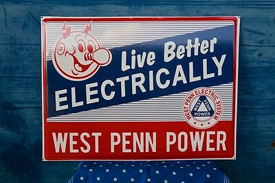 Vintage Reddy Kilowatt West Penn Electric System Heavy & Thick Sign