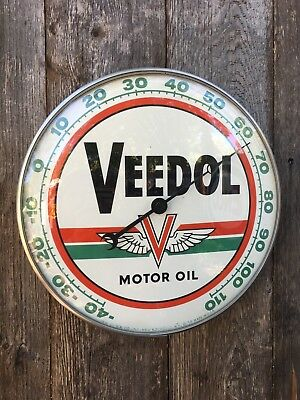 "Original Veedol Motor Oil 12"" Diameter Working Condition Advertising Thermometer"