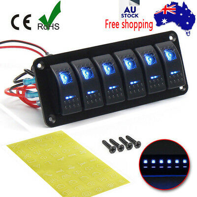6 Gang Blue LED Light Rocker Switch Panel Circuit Breaker Boat Marine Waterproof