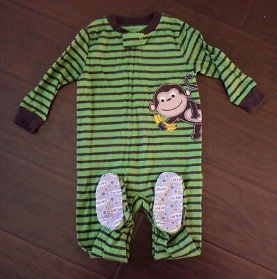 Carters Green Striped Monkey Cotton Footed Pajamas Boys size 24 months