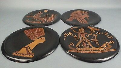 Vintage 4pc  Egyptian Etched Copper Plate/ Wall Hanging Egypt Pyramids UFOs ?