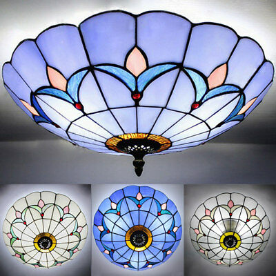 Vintage Stained Glass Flush Mount Ceiling Light Antique Tiffany Ceiling Lamp