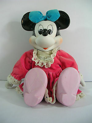 """Vintage Disney Minnie Mouse Porcelain Musical Doll """"When you wish upon a star"""""""