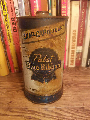"Pabst Blue Ribbon 32oz Quart Cone Top Beer Can  OI  ""Snap-Cap"" Blue version"