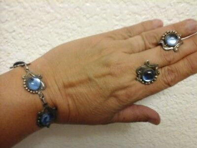 Taxco sterling  and glass 7 inch bracelet  and screw earrings