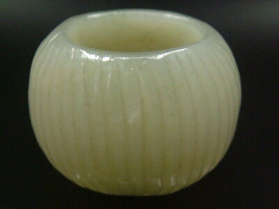 """Antique Old Chinese Celadon Nephrite -Jade Thumb Ring""""WAVE"""""""