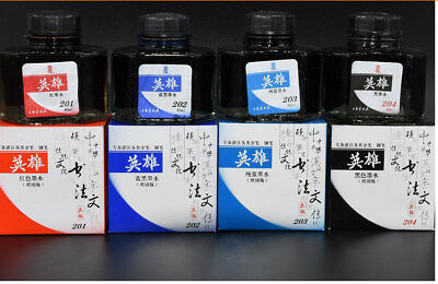Hero 60ml Glass Bottled Writing Fountain Pen Ink 4 Colors Option Office/Business