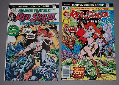 Red Sonja #1 + Marvel Feature #1 HIGH GRADE Marvel Bronze Age Comic Lot Conan