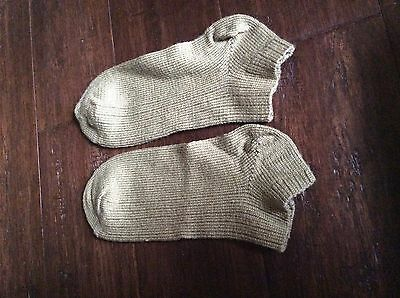 Vintage Wigwam X-country wool blend ankle socks tan sz 11-13  d5