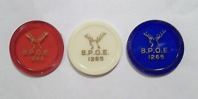 Lot Of 3 1265 Donora Pa Tokens Vintage Plastic Authentic Red White Blue
