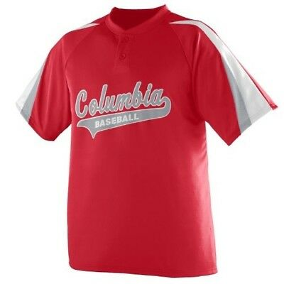 (Adult 3XL, Red/White/Silver) - 3-Coloured Sleeve 2-Button Jersey