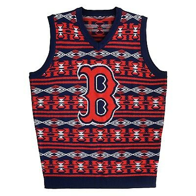 (Boston Red Sox, Large) - MLB Aztec Ugly Sweater Vest. Klew. Free Shipping