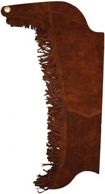 (Large, Brown) - Equestrian Riding Adult Suede Leather Chaps with Fringe Down
