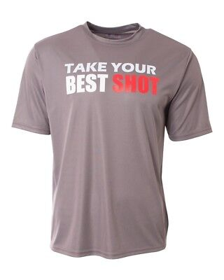 """(Adult Large, Graphite) - """"Take Your Best Shot"""" Moisture Wicking Performance"""