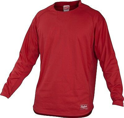 (Small, Scarlet) - Rawlings Youth Dugout Fleece Pullover. Delivery is Free