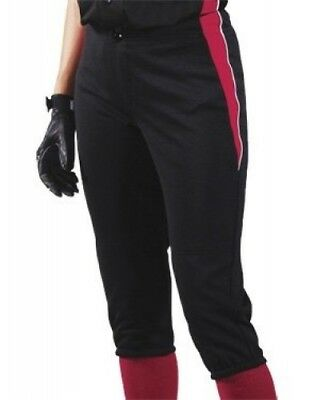 (Large, Black/Scarlet/White) - Women's Changeup Softball Pant. Teamwork