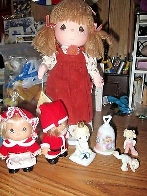 Lot Precious Moments Doll, 2 Figurines, Porcelain Baby Boy Figurine & Bell