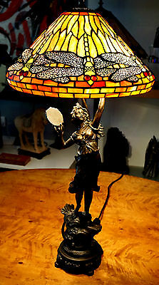 Beautiful Tiffany Style Lead light Table Lamp With Female Figure Base