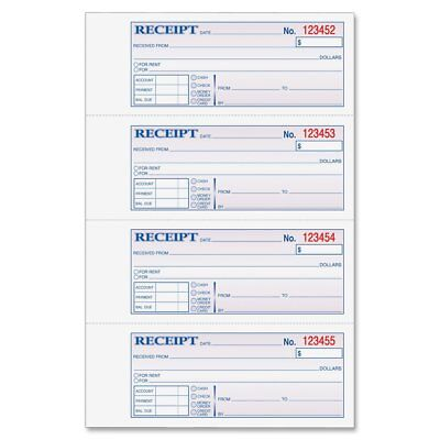 Adams Money and Rent Receipt, 7.63 x 11 Inches, 2-Parts, Carbonless, 4 per Page,