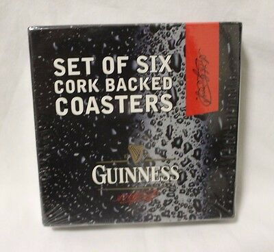 Authentic Guinness Cork Backed Coasters - Set of Six NIB
