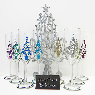 Christmas Party Glass Personalised Gifts Glitter Glass Rio