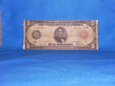 1914 $5  RED SEAL NOTE FEDERAL RESERVE LARGE SIZE, NEW YORK  BURKE / McADOO