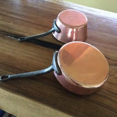 Vintage Villedieu and France Copper 2m Thick Pan & Saucepan Tin lined Lot of 2