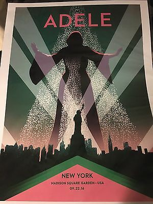 Official Adele 2016 Tour Lithograph Poster New York City Limited Rare 9/22 Msg