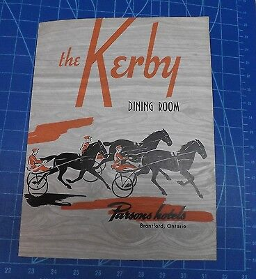 Kerby Hotel Dining Room Menu Cover - A Parsons Hotel Circa 1950 Brantford, Ont.