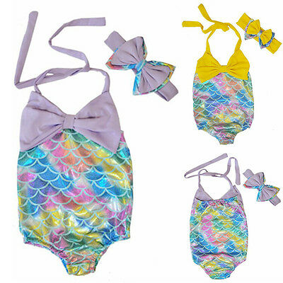 AU Baby Girls Kid Mermaid Swimmable Bikini Swimwear Swimsuit Headband Costume T