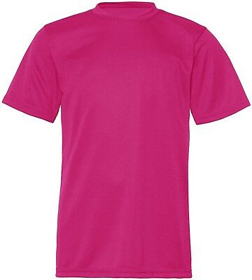 (X-Small, Hot Pink) - C2 Sport Youth Athletic Antimicrobial Crewneck T-Shirt