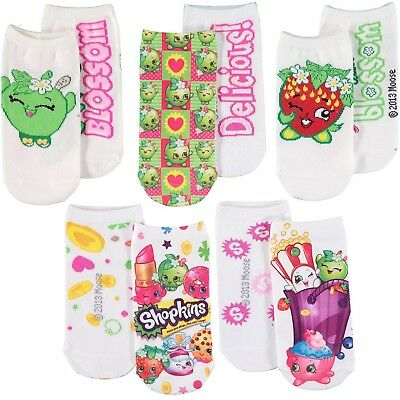 (6-8.5, Assorted Knit) - Shopkins Girls' Printed No-Show Sock - 5 Pack