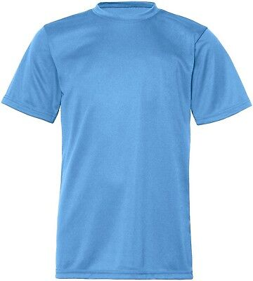 (Medium, Columbia Blue) - C2 Sport Youth Athletic Antimicrobial Crewneck T-Shirt