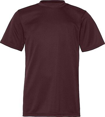 (X-Small, Maroon) - C2 Sport Youth Athletic Antimicrobial Crewneck T-Shirt