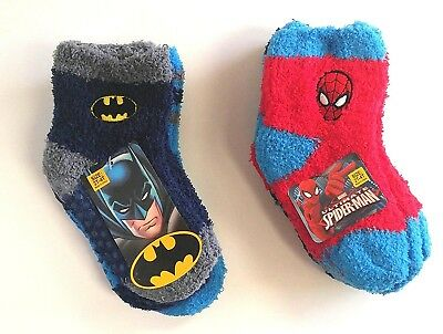 (Small) - Set of 6 Marvel Spider-Man and Batman Cosy Slipper Socks with