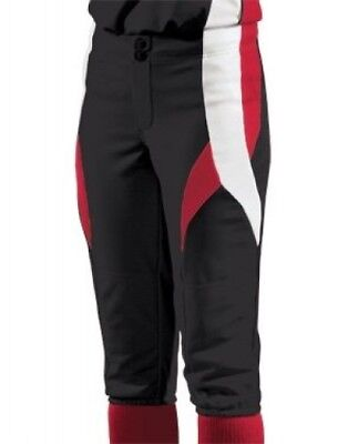 (Small, Black/Scarlet/White) - Women's Stinger Softball Pant. Teamwork
