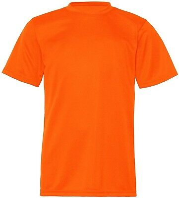 (Large, Safety Orange) - C2 Sport Youth Athletic Antimicrobial Crewneck T-Shirt