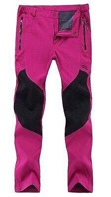(Small, Women Rose Red) - CATERTO Couple Lightweight Waterproof Mountain Pants